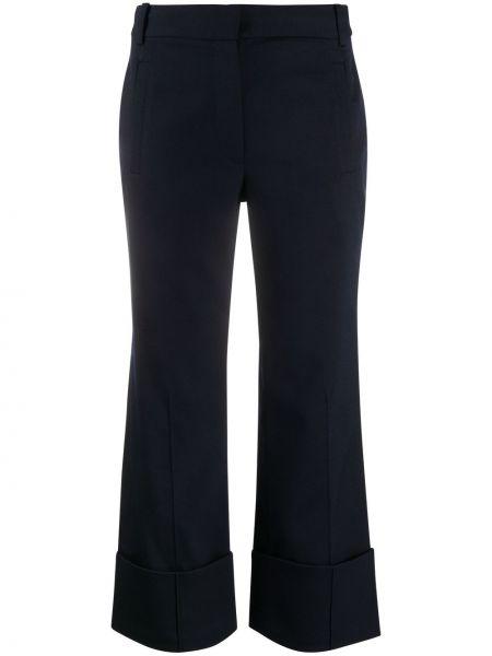 Spodni wełniany niebieski przycięte spodnie z paskiem Tibi