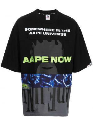 Czarna koszulka bawełniana Aape By A Bathing Ape