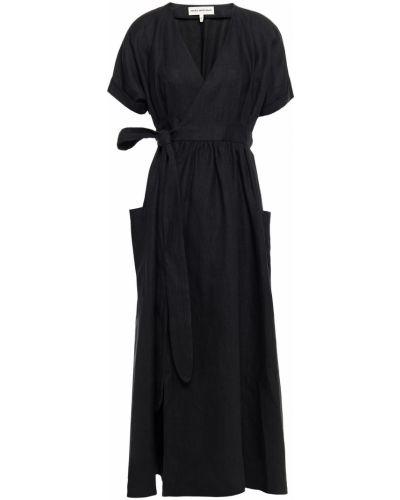 Текстильное черное платье миди с карманами Mara Hoffman