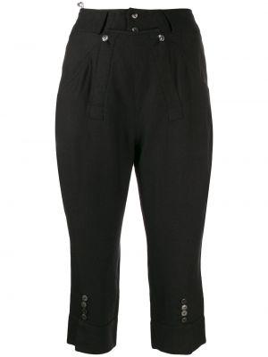 Czarne spodnie z paskiem z wiskozy Christian Dior
