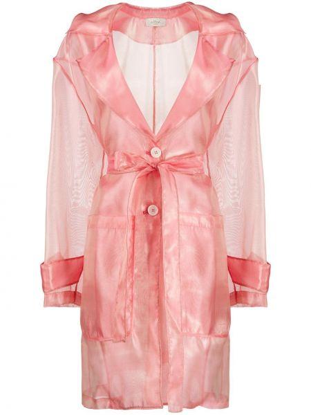 С рукавами розовое длинное пальто с запахом Altea