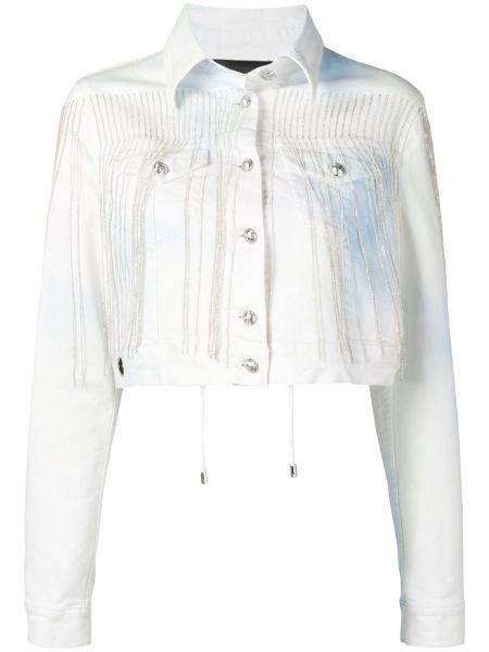 Белая джинсовая куртка с бахромой с воротником Philipp Plein