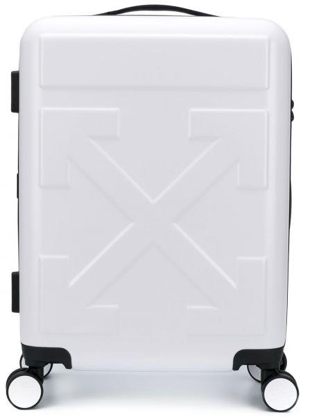 Biały walizka z kieszeniami wytłoczony Off-white