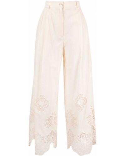 Brązowe spodnie z wysokim stanem bawełniane See By Chloe