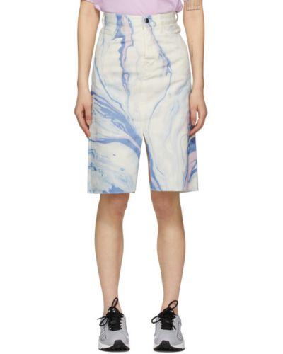Белая джинсовая юбка с карманами с заплатками Aries