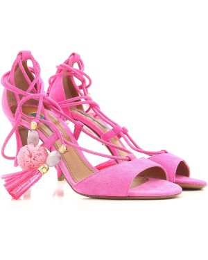 Różowe sandały skorzane w paski Dolce And Gabbana