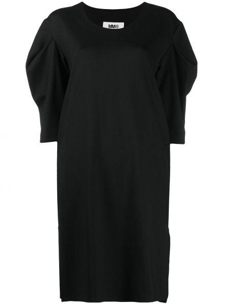 Bawełna czarny sukienka z rękawem z wiskozy w połowie kolana Mm6 Maison Margiela