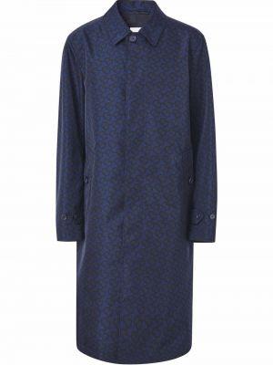 Niebieski płaszcz z printem Burberry