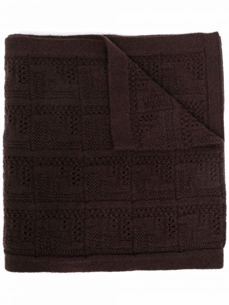 Коричневый кашемировый шарф Fendi