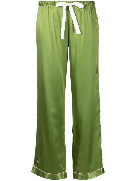Шелковые зеленые брюки с вышивкой Morgan Lane
