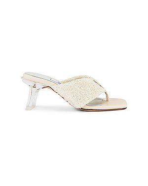 Кожаные белые мюли на каблуке Miista