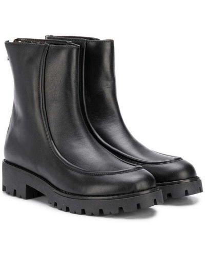 Кожаные черные ботинки круглые с круглым носом Marni Kids
