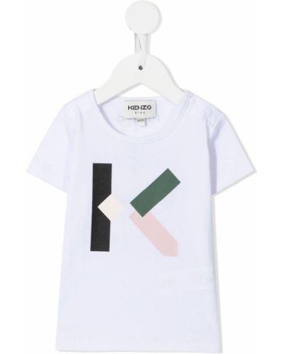Biały dres bawełniany krótki rękaw Kenzo Kids