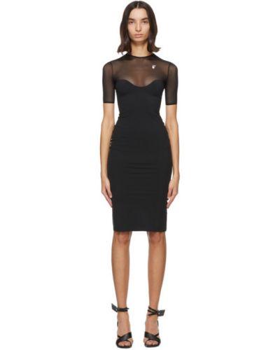 Nylon czarny sukienka midi z kołnierzem siatkowaty Off-white