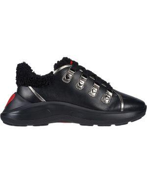 Кожаные кроссовки - черные Love Moschino