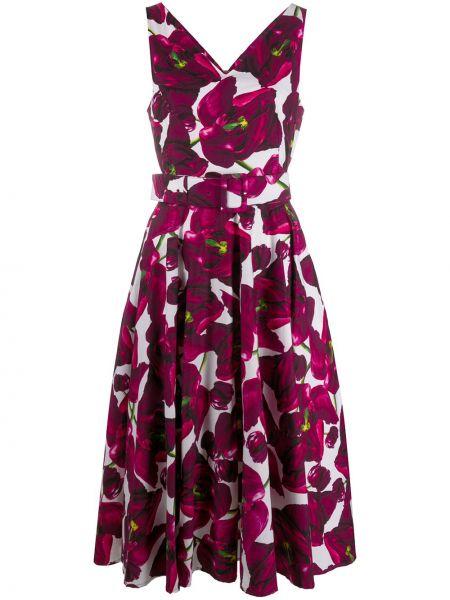 Платье с поясом розовое с V-образным вырезом Samantha Sung