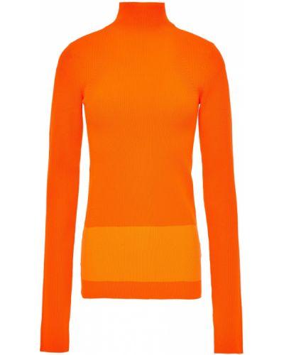 Prążkowany pomarańczowy sweter Helmut Lang