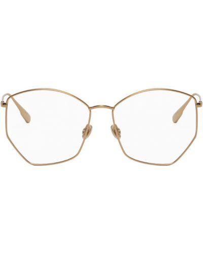 Кожаные очки для зрения золотые прозрачные Dior