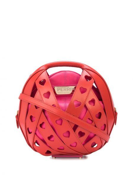 Розовая сумка-тоут с заплатками металлическая позолоченная Perrin Paris
