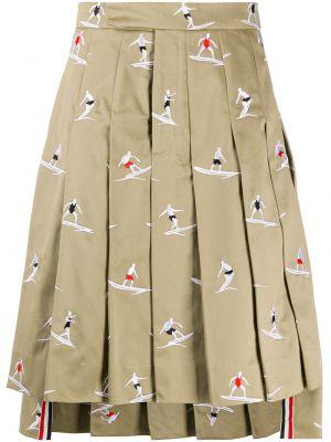Плиссированная юбка на пуговицах с вышивкой Thom Browne