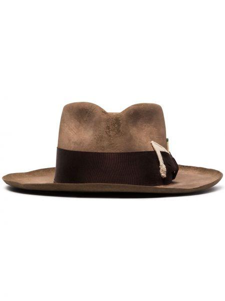 Коричневая шляпа-федора Nick Fouquet