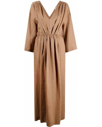 Коричневое льняное платье макси с длинными рукавами Ballantyne