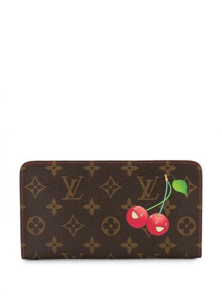 Czerwony portfel skórzany z printem Louis Vuitton