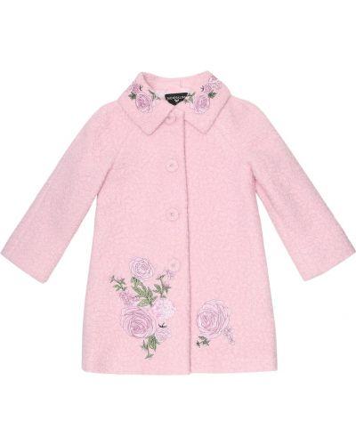 Розовое зимнее пальто с вышивкой Monnalisa