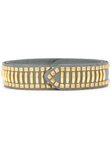 Золотистый серый ремень с заклепками металлический Alberta Ferretti