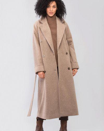 Коричневое пальто двубортное Maxa