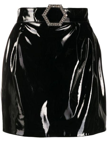 Лаковая черная с завышенной талией юбка мини Philipp Plein
