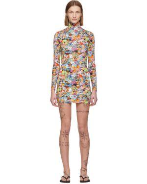 Платье макси с отложным воротником стрейч Vetements