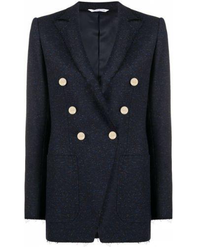 Синий шерстяной деловой классический пиджак на пуговицах Tonello