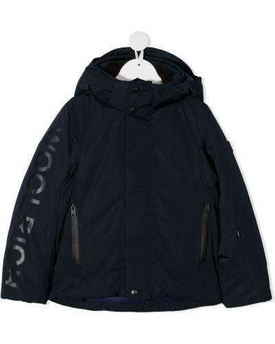 С рукавами синяя классическая куртка с капюшоном Woolrich Kids