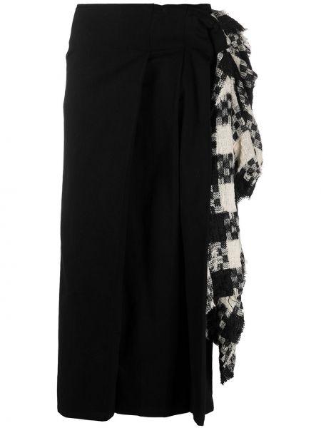 Плиссированная хлопковая черная юбка с оборками Yohji Yamamoto