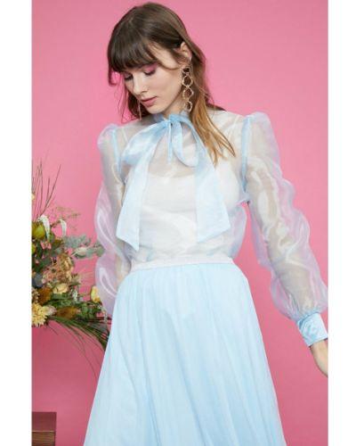 Niebieska bluzka z długimi rękawami tiulowa Koton