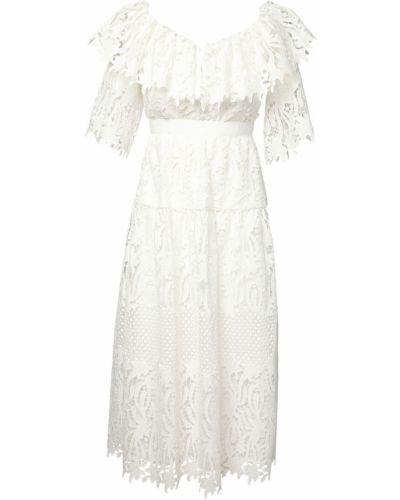 Приталенное кружевное белое платье миди Self-portrait