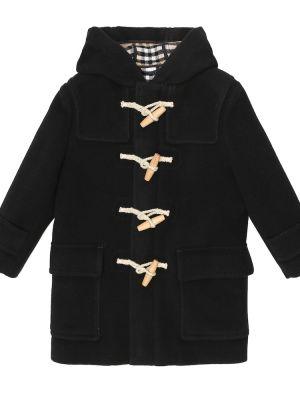 Czarny wełniany płaszcz Burberry Kids