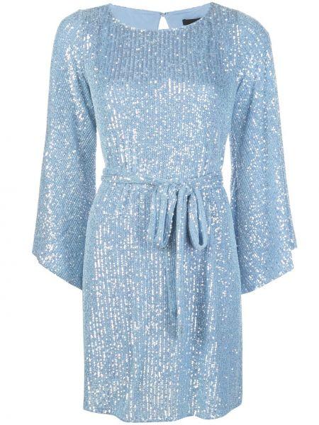 Синее расклешенное платье мини с длинными рукавами с круглым вырезом Jay Godfrey