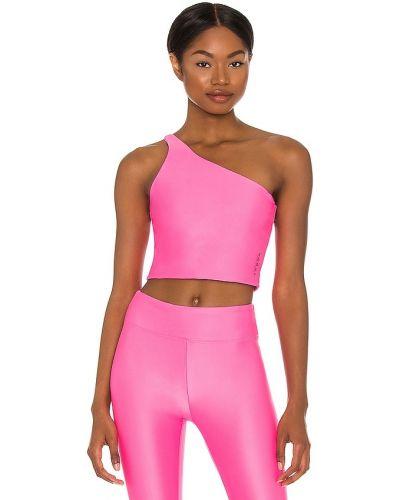 Розовый спортивный топ на одно плечо с декоративной отделкой Koral