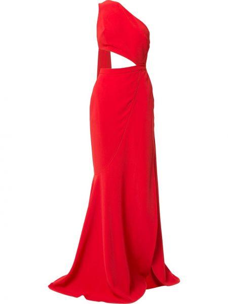 Шелковое красное платье макси без рукавов Elie Saab