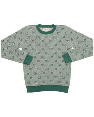 Prążkowany zielony sweter wełniany Gucci