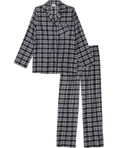 Черная теплая свободная фланелевая пижама с брюками Bonprix
