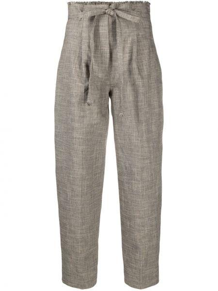 Хлопковые прямые коричневые укороченные брюки Antonelli