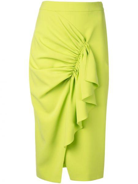 Zielona spódnica ołówkowa z falbanami z wysokim stanem Christian Siriano