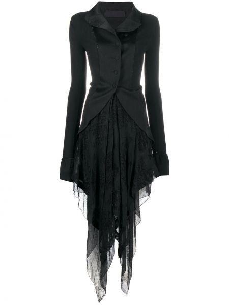 Шелковое приталенное черное длинное пальто Marc Le Bihan