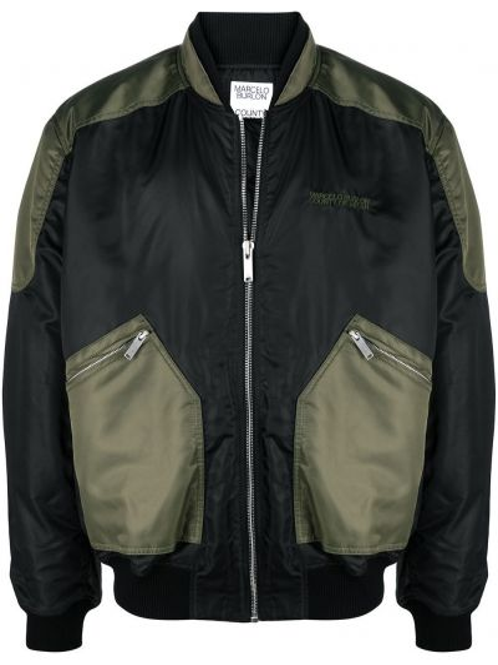 Czarna długa kurtka wełniana z długimi rękawami Marcelo Burlon County Of Milan
