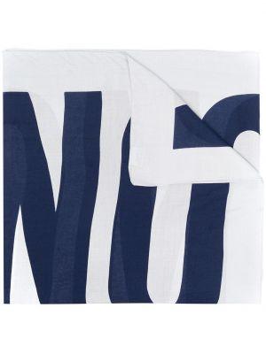 Niebieski szalik materiałowy z printem Moschino