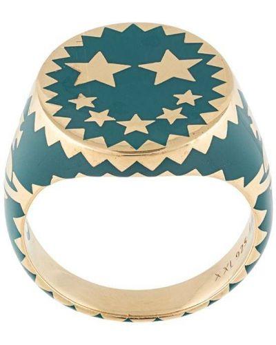 Niebieski złoty pierścionek pozłacany Vivienne Westwood