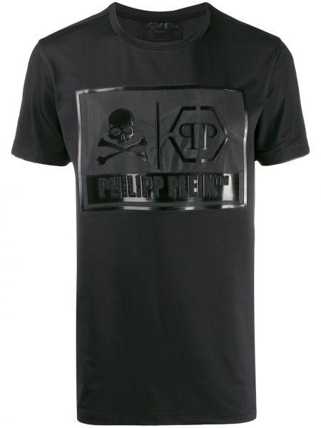 Koszula krótkie z krótkim rękawem prosto czarna Philipp Plein
